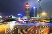Dazzling rainbow overpass highway night scene in Shanghai — Stock Photo