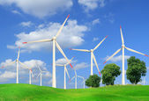 Wind turbines in summer landscape  — Stock Photo