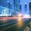 Megacity Highway at night dusk light trails in shanghai China — Stock Photo #46060587
