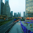 Lujiazui Finance&Trade Zone of modern urban architecture backgro — Stock Photo