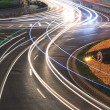 Urban ring road light trails night in Shanghai — Stock Photo