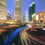 Long exposure of urban ring road Shanghai night scene — Stock Photo
