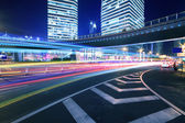 Rainbow overpass cityscape highway night scene in Shanghai — Stock Photo