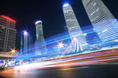 Rainbow light trails on the ring road in Shanghai  — Stock Photo