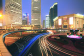 Long exposure of urban ring road Shanghai night scene — Stock Photo
