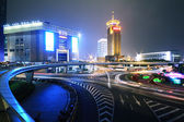 Rainbow overpass highway night scene in Shanghai — Stock Photo