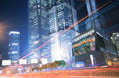 City road light trails night in Shanghai — Foto Stock