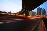 Large city ring highway long exposure photo light night scene — Stock Photo