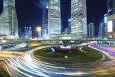 Shanghai lujiazui autobahn bei nacht — Stockfoto