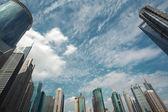 Look up modern urban office buildings in Shanghai — Stock Photo