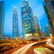 Road tunnels light trails on modern city buildings backgrounds i — Stock Photo #46471629