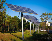 Park green energy solar power system — Stock Photo