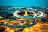 Bird view at Asia's largest across the rivers in a spiral bridge — Stock Photo