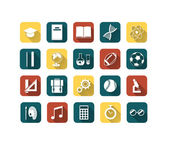 Set of colorful flat education icons — Stock Vector