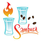 Exotic alcohol drink Sambuca — Stock Vector