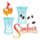 Exotic alcohol drink Sambuca — Stock Vector