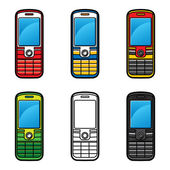 Set of Cell Phones — Stock Vector