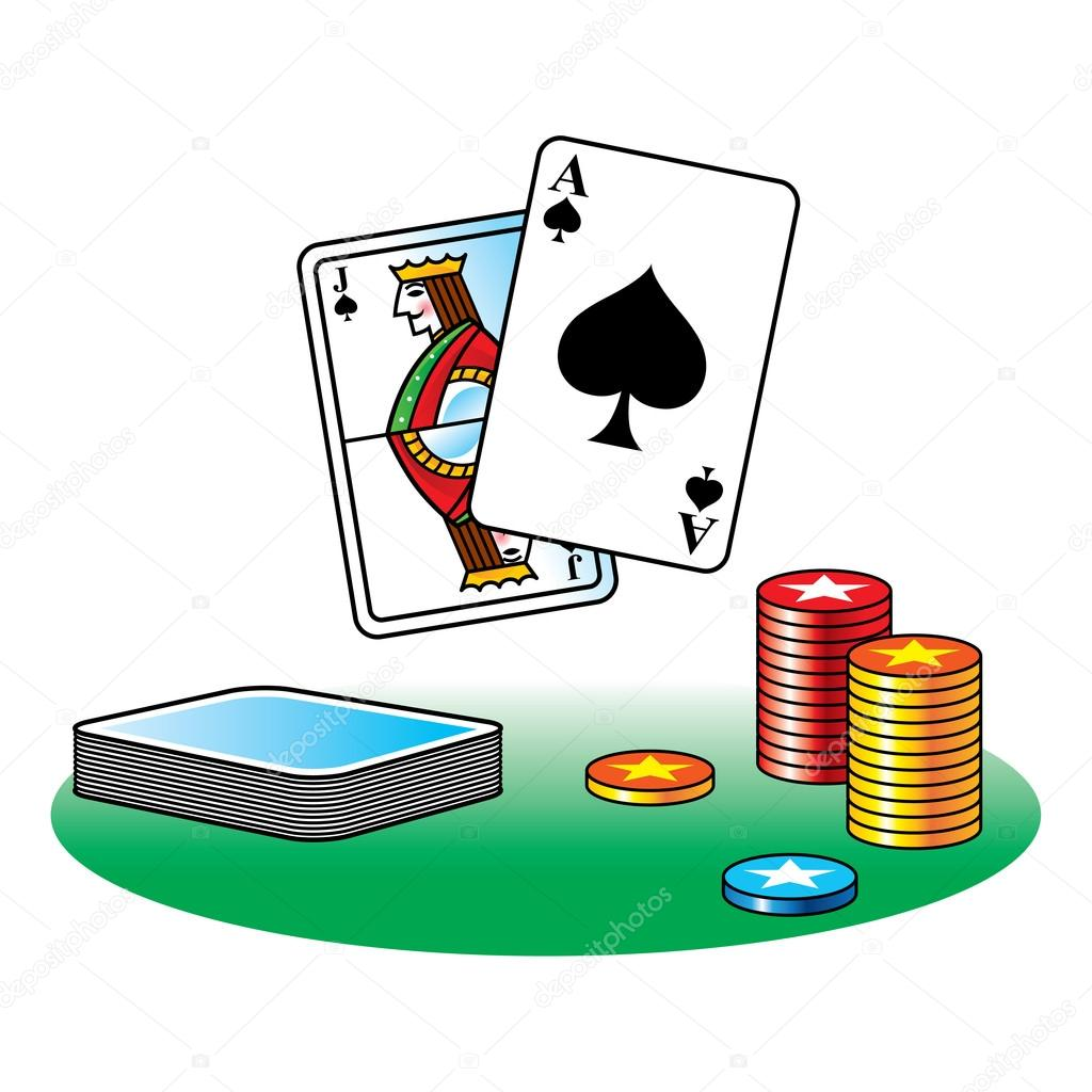 Black Jack poker casino gamble ace chips table — Stock Vector #21214347