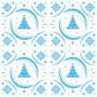 Winter pattern blue snowflakes — Stock Vector