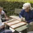 Senior backgammon players — Stockfoto