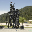 Sculpture of Miners family — Stock Photo
