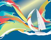 Sailing boat and waves — Stock Vector