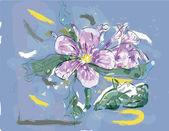 Pink Jasmin flower in watercolor — Stock Vector