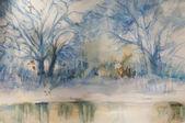 Watercolor landscape - winter scenes — Stock Photo