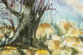 Watercolor landscape of forests with big tree trunk and rocks — Stock Photo
