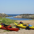 Kayaks on a beach — Stock Photo