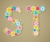 Alfabeto floral. — Vetorial Stock