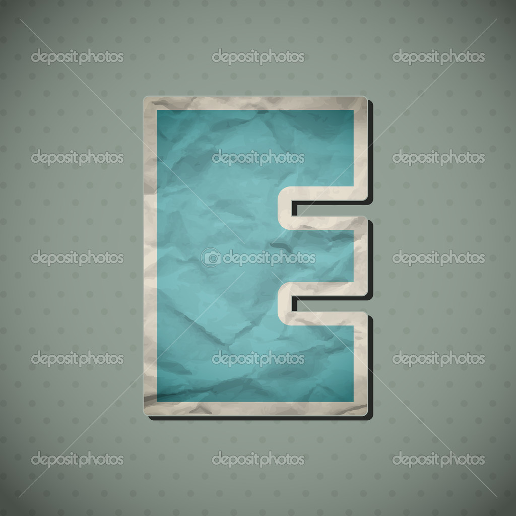 Crumpled paper alphabet in retro style. Vector illustration. Eps10.  Stock Vector #12542212