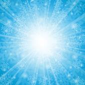 синий новогодний фон со снежинками — Cтоковый вектор
