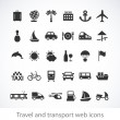 Travel and transport web icons — Stock Vector