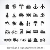 Iconos web de viajes y transporte — Vector de stock