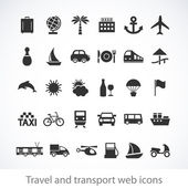 Travel and transport web icons — Stock vektor