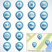 Dopravní knoflíky sada — Stock vektor