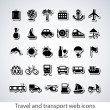 Travel and transport buttons set — Stock Vector