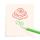 Hand drawn rose — Vector de stock