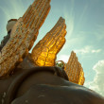 Griffons sculpture of Bank bridge in St.Petersburg — Stock Photo