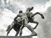 The Horse Tamers, designed by the Russian sculptor, Peter Klodt — Stock Photo