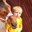 Joking portrait  of little boy with horse — Stock Photo