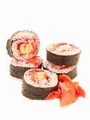 Roladki z masago krewetek, łososia i czerwony na białym tle — Zdjęcie stockowe