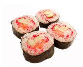Cztery rolki krewetek, łososia i czerwonym masago na białym tle — Zdjęcie stockowe