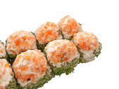 Sushi rolls with salmon and dill isolated on white — Stock Photo