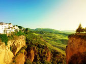 Panoramic view from New bridge in Ronda, one of the famous white — Stock Photo