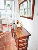 Balcony in small hotel with view at the sea. Andalusia — Stock Photo
