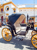 The carriage horse in front the bull arena of Seville , Spain — Stock Photo