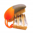 Stock Photo: Brush with natural bristle and metal comb for horses isolated on