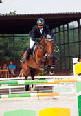 SAINT PETERSBURG-JULY 08: Rider Urmas Raag on Axel du Beaumont i — Stock Photo